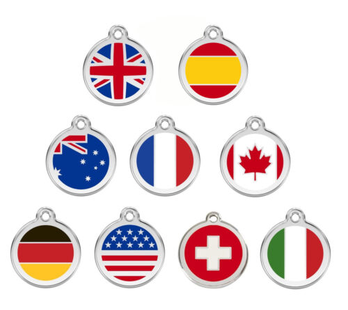 ENGRAVED DOG ID TAG / DISCS: Flag UK / USA / Canada / Germany / Italy Red Dingo