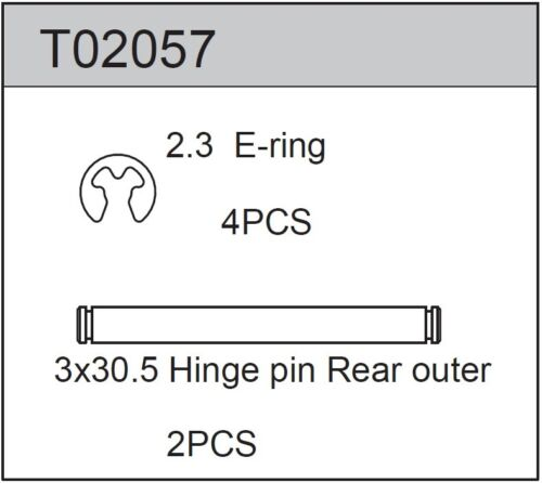 TEAM C T02057 Rear Outer Hinge Pin 3mm x 30.5mm (2)