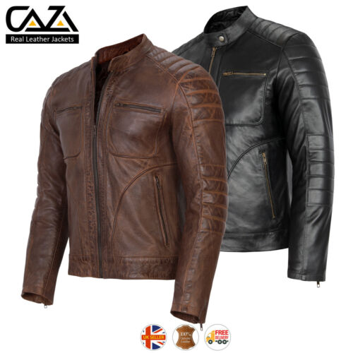 Mens Vintage Cafe Racer Genuine Leather Jacket Black Brown Slim Fit Biker Jacket