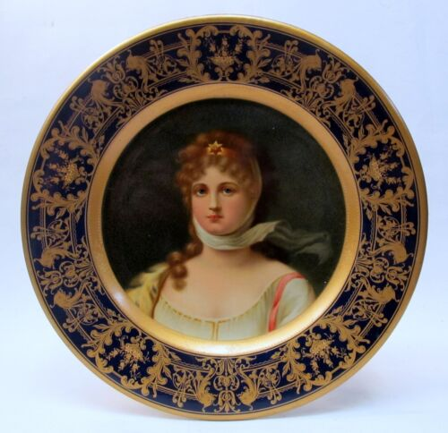 """1905 QUEEN LOUISE PRUSSIA Vienna Art Plates 10"""" tray CONSOLIDATED ICE Pittsburgh"""