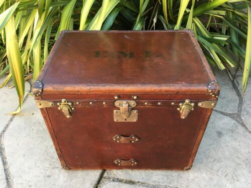 LOUIS VUITTON Antique Leather Cube Steamer Trunk purse bag LV art rare