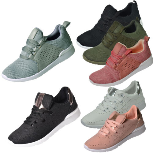 Womens Trainers Lace up Padded Comfy Sports Running Gym Casual Sneakers Shoes UK