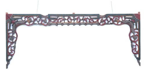 Antique Chinese Multicolored Wooden Carving / Architectural Doorway Arch Panel
