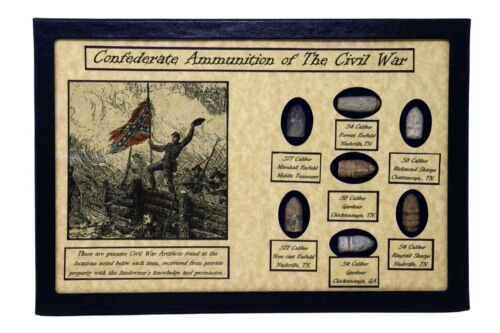 Confederate Ammunition Bullets of The Civil War with Display Case and COABullets - 103996