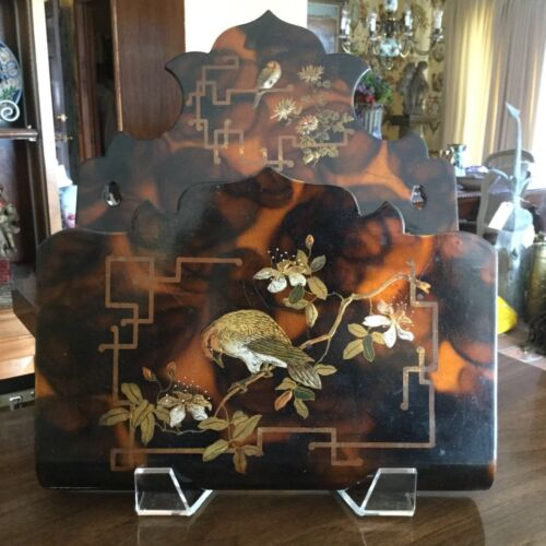 English Chinoiserie Style Papier Mache Letter Holder Victorian Birds Floral