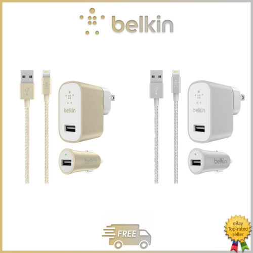 Original Belkin Mixit Up Car +Home Charger Kit+Lightning Cable for Apple iPhone