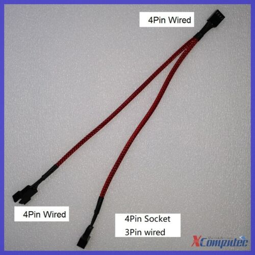 1-to-2 Ways Braided 4-Pin PWM Case Cooling Fan Y Split Cable Splitter 25cm RED