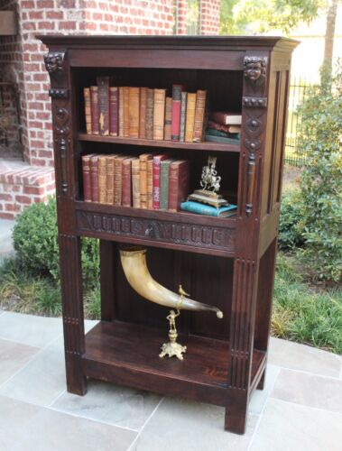 Antique French Oak Gothic Revival Bookcase Etagere Display Cabinet ~Price Drop~