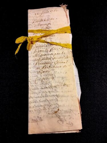 VELLUM MARRIAGE CONTRACT BETWEEN LAWYER AND PROSECUTOR'S DAUGHTER 1761