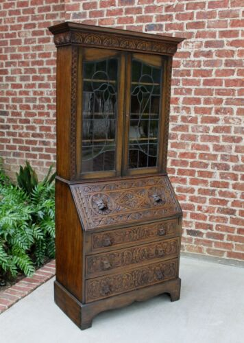 Antique English Carved Oak Art Nouveau Stained Glass Secretary Bookcase Desk