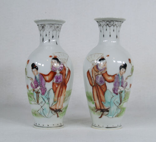 Antique Chinese Public Period Hand Painted Porcelain Pair of Vases Signed