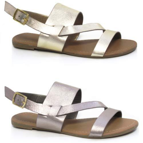 Womens Ladies Summer Gladiator Sandals Fancy Flat Heel Party Beach Shoes Size
