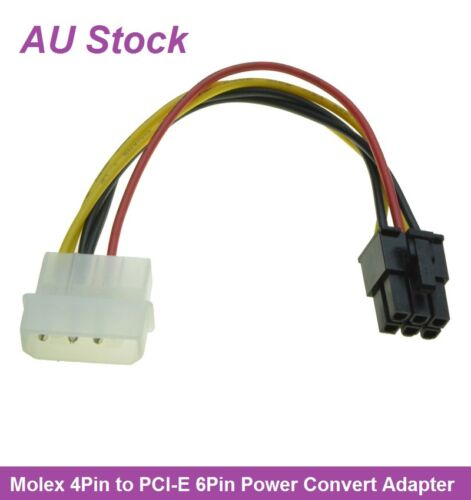Molex LP4 4Pin to Video Card PCI-E PCIE 6Pin Power Converter Cable Adapter 15cm