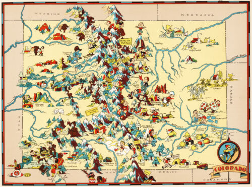 Canvas Reproduction Vintage Pictorial Map of Colorado Print Ruth Taylor 1935