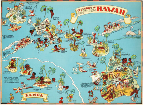 Canvas Reproduction Vintage Pictorial Map of Hawaii Print Ruth Taylor 1935