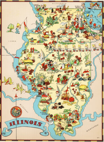 Canvas Reproduction Vintage Pictorial Map of Illinois Print Ruth Taylor 1935