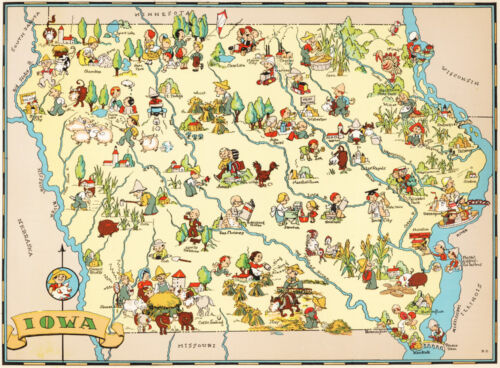 Canvas Reproduction Vintage Pictorial Map of Iowa Print Ruth Taylor 1935