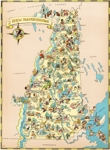 Canvas Reproduction Vintage Pictorial Map of New Hampshire Print Ruth Taylor1935