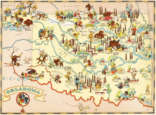 Canvas Reproduction, Vintage Pictorial Map of Oklahoma Ruth Taylor 1935