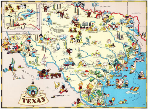 Canvas Reproduction, Vintage Pictorial Map of Texas Ruth Taylor 1935