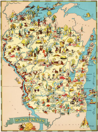 Canvas Reproduction, Vintage Pictorial Map of Wisconsin Ruth Taylor 1935