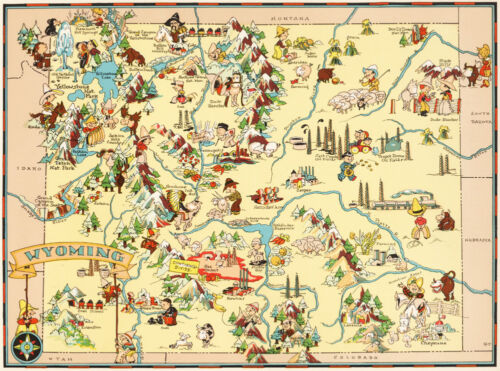 Canvas Reproduction, Vintage Pictorial Map of Wyoming Ruth Taylor 1935