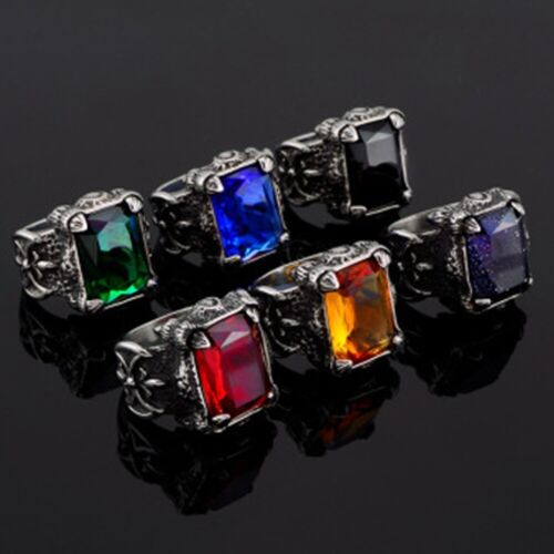 Mens New 316L Steam Stainless Steel Agate Kallaite Ring Finger Ring Punk Jewelry