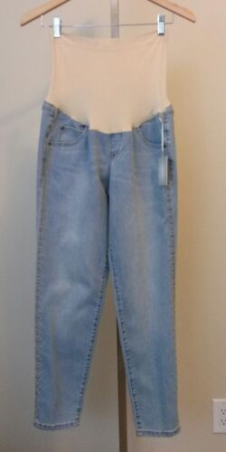 NWT A:GLOW Maternity Light Blue Denim Ankle Jeans Embroidery Detail Size 8 $54