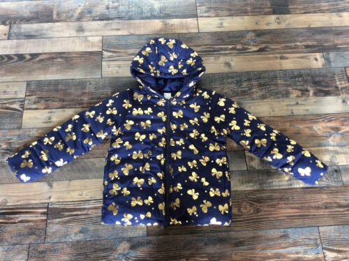 Gymboree Girls Navy Blue Gold Bow puffer coat jacket Nwt 4t 5t