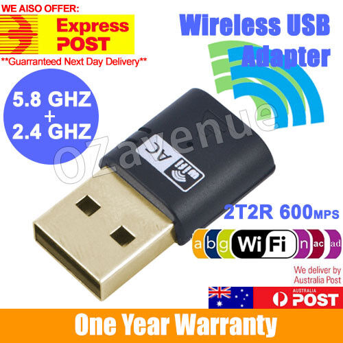 600Mbps Dual Band 802.11ac 2.4GHz 5GHz PC USB WiFi Adapter Network LAN Dongle