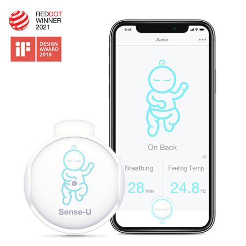 Sense-U Baby Infant Breathing Rollover Movement Monitor Temperature Sensors 2019