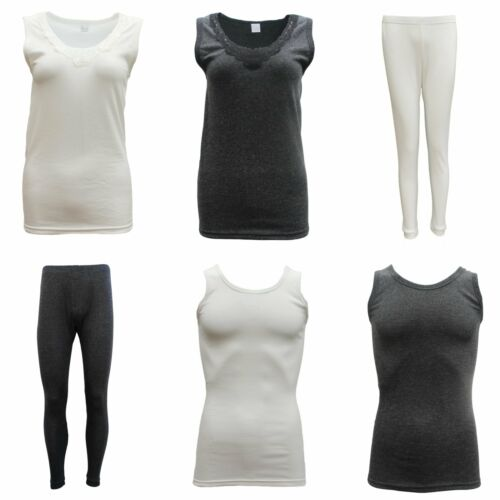 Women Mens 2PCS SET Merino Wool Sleeveless Singlet Top Pants Thermal Pajamas PJs