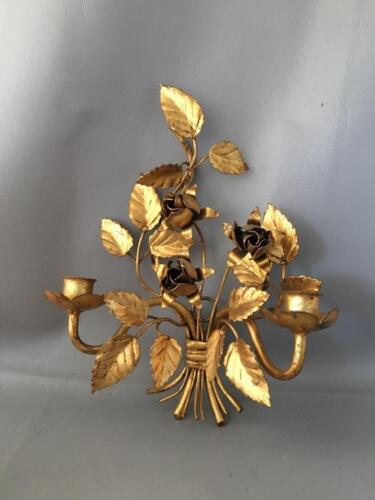 VTG ITALIAN FLORENTINE GOLD METAL TOLE ROSES PETITE WALL CANDLE HOLDER SCONCE