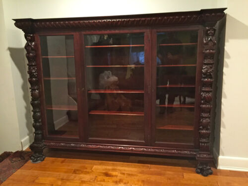 ANTIQUE GOTHIC CARVED PRAYING MONKS TRIPLE DOOR RED MAHOGANY BOOKCASE CIRCA 1900