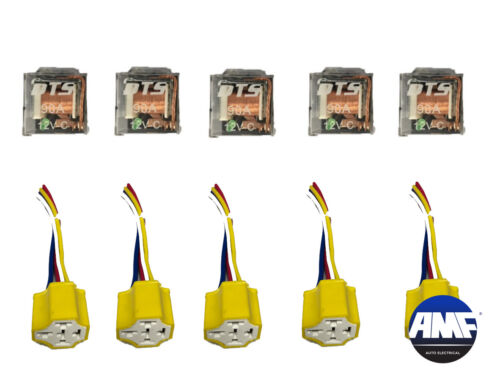 Set of 10 12V Automotive Relay 5 Pin 5 Wires LED w/Harness Socket 80/90 Amp