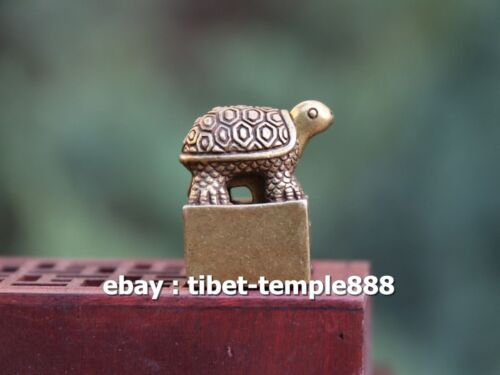 3 CM Chinese 100% Pure Bronze Copper Tortoise turtle Two parts Seal Signet Stamp