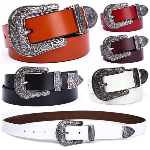 Women's Vintage Western Floral Buckle Cowgirl Handcrafted Genuine Leather Belt