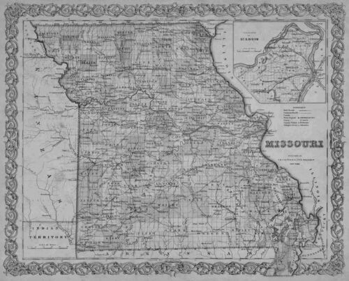 1855 MISSOURI MO MAP Neosho Nevada Nixa O'Fallon Oak Grove Oakville Olivette BIG