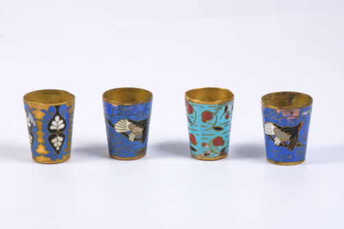 Set 4 Vintage Marked Brass Gilted Russian Goblets Enamel Painted Designs H 4.5cm