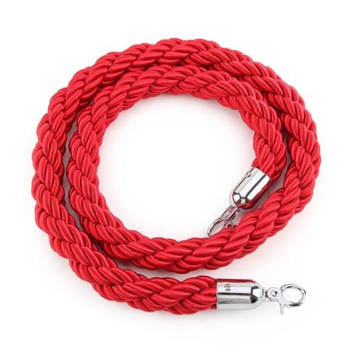 1.5 Meter Braided Rope Red with Silver End Stanchion Twisted Queue Line Barriers