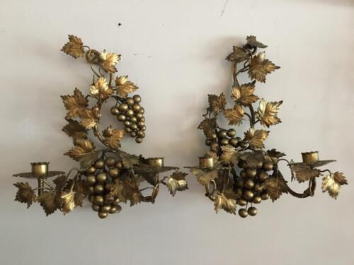 VTG ITALIAN FLORENTINE GOLD METAL TOLE GRAPE LEAF WALL CANDLE HOLDER SCONCE PAIR