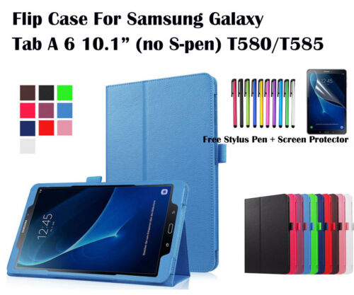 "Flip Leather Case Cover/Screen Protector For Samsung Galaxy Tab A A6 10.1""(2016)"