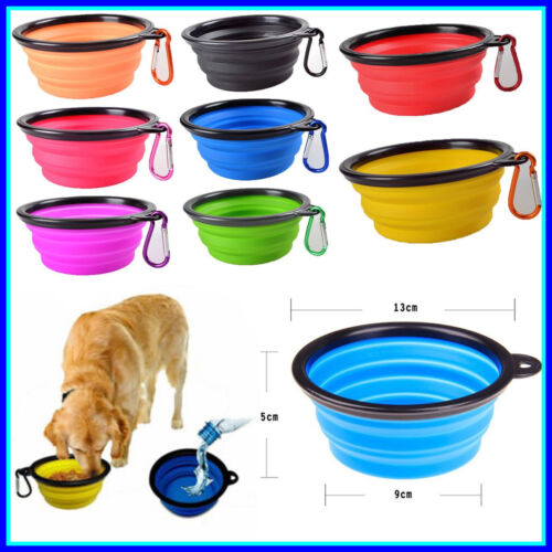 2 Travel Collapsible Dog Bowl Foldable Expand Dish for Pet Cat Food Water Food