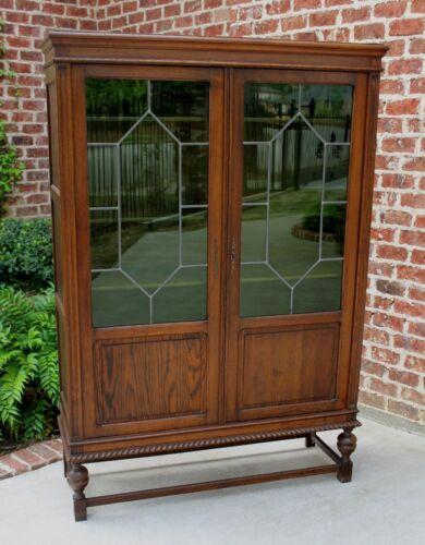 Antique English Oak Green Leaded Glass Jacobean Bookcase Cabinet ~~Price Drop~~