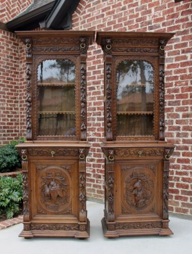 Antique French Oak PAIR Black Forest HUNT Cabinets Bookcases SLIM WIDTH c. 1880s