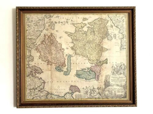 FRAMED AUTHENTIC MAP OF DENMARK 1710