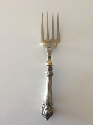 ANTIQUE RUSSIAN SILVER HANDLE FISH FORK ,23 CM
