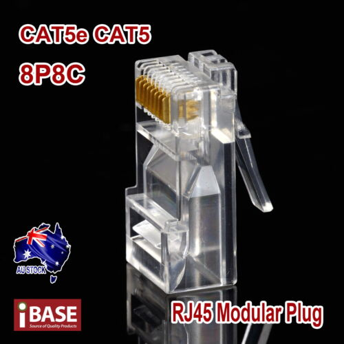 RJ45 Modular Connector Plug Crimp 8P8C CAT5e CAT5 CAT6 LAN Network Ethernet
