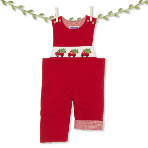 Smocked red truck & Christmas tree corduroy longall NEW *jon jon boutique *
