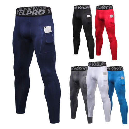 Men's Compression Pants Baselayer Cool Dry Sports Leggings Running with Pocket